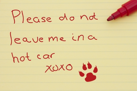 dead dog: Dangers of leaving a dog in parked cars, Yellow Lined Paper with a note from your pet, paw print and a marker