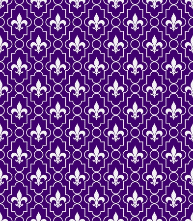 lys: White and Purple Fleur-De-Lis Pattern Textured Fabric Background that is seamless and repeats