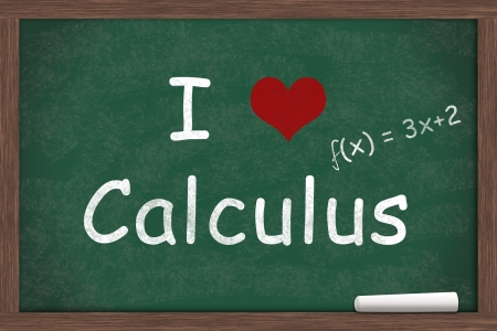 i like my school: I love Calculus, I heart calculus with example written on a chalkboard with a piece of white chalk