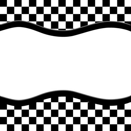 cuadros blanco y negro: Marco blanco y negro a cuadros con el fondo de la cinta de la onda con el centro para la copia-espacio, marco clásico a cuadros
