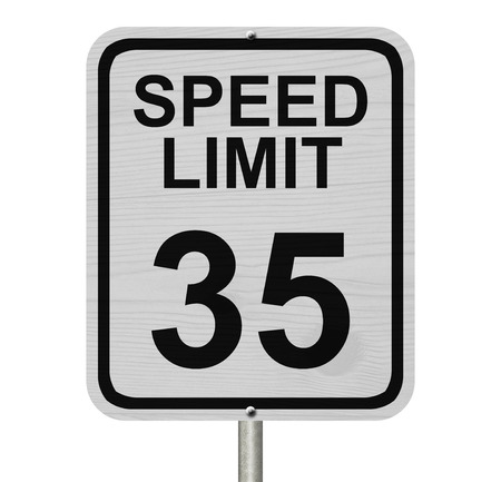 kilometre: A white American road sign with words Speed Limit and 35 isolated over white, Speed Limit 35 Sign