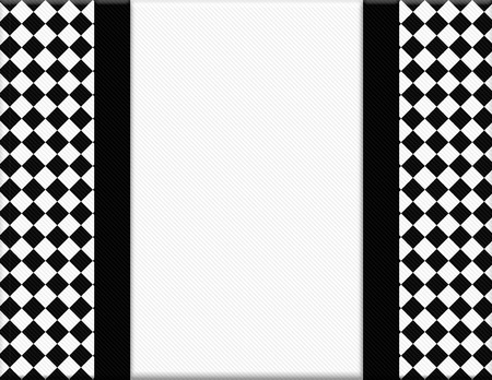 Black and White Checkered Frame with Ribbon Background with center for copy-space, Classic Checkered Frame