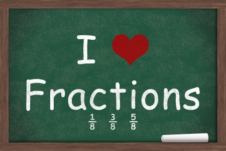 i like my school: I love Fractions, I heart fractions with examples written on a chalkboard with a piece of white chalk