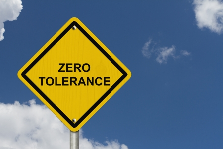 harassment: Zero Tolerance Warning Sign