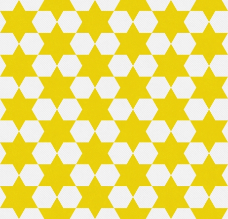 Bright Yellow and White Hexagon Patterned Textured Fabric Background that is seamless and repeats
