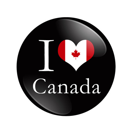 I Love Canada button, A black and red button with word I Canada and a heart isolated on a white background