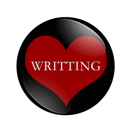 I Love Writing button, A black and red  button with word Writing and a heart isolated on a white background photo