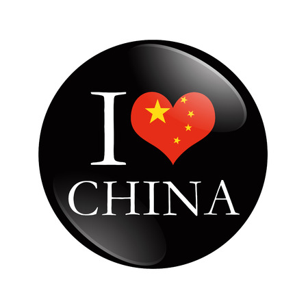 I Love China button, A black and red button with word I China and a heart isolated on a white background