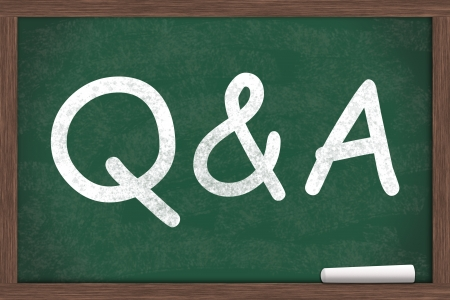 qa: Q&A written on a chalkboard with a piece of white chalk