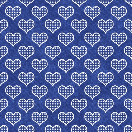 Blue and White Polka Dot Hearts Pattern Repeat Background that is seamless and repeats photo