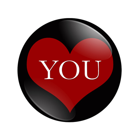 I Love You button, A black and red button with word You and a heart isolated on a white background