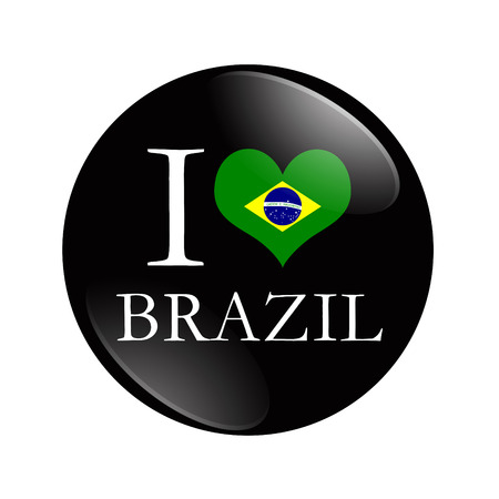 I Love Brazil button, A black and red button with word I Brazil