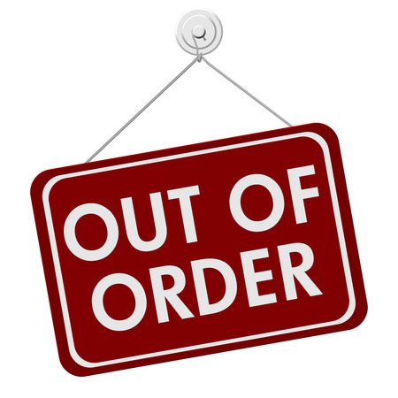 out of order: A red and white sign with the words Out of Order isolated on a white