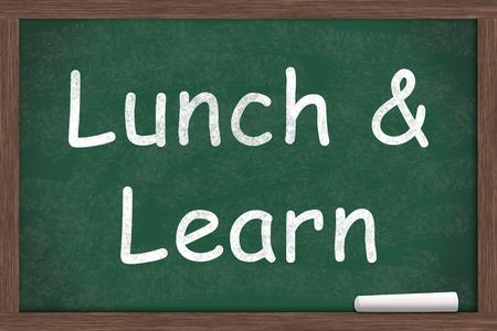 Lunch and Learn Bildung auf einer Tafel mit einem Stück weißer Kreide