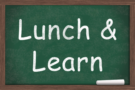 Lunch and Learn Education written on a chalkboard with a piece of white chalk Archivio Fotografico