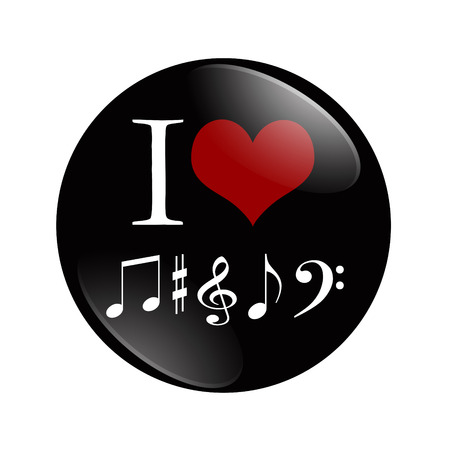 I Love Music button, A black and red  button with music note symbols isolated on a white Stock fotó