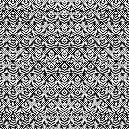 Black and White Star Tiles Pattern Repeat Background