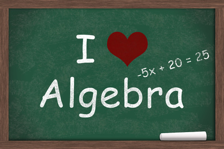i like my school: I love Algebra, I heart algebra with example written on a chalkboard with a piece of white chalk