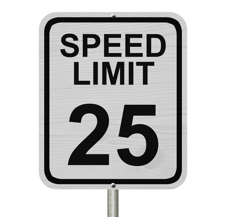 kilometre: A white American road sign with words Speed Limit and 25 isolated over white, Speed Limit 25 Sign