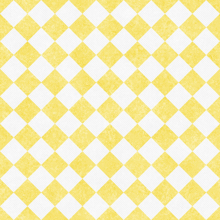 diagonal: Pale Yellow and White Diagonal Checkers Textured Fabric Background that is seamless and repeats