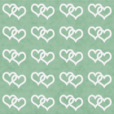 White Interwoven Hearts and Green Thin Horizontal Stripes Textured Fabric Background that is seamless and repeats photo