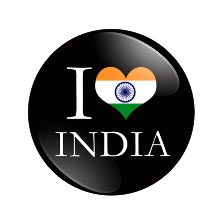 I Love India button, A black and red button with word I India and a heart isolated on a white