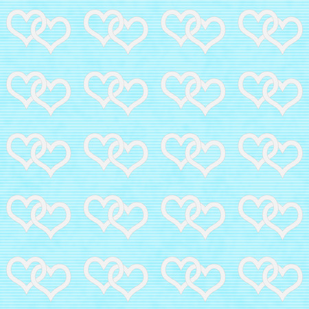 White Interwoven Hearts and Teal Thin Horizontal Stripes Textured Fabric Background that is seamless and repeats photo