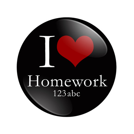 i like my school: I Love Homework button, A black and red button with word Homework and 123 abc and a heart isolated on a white