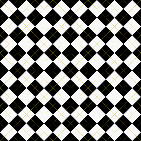 Black, White and Yellow Argyle Pattern Repeat Background that is seamless and repeats Stock Photo
