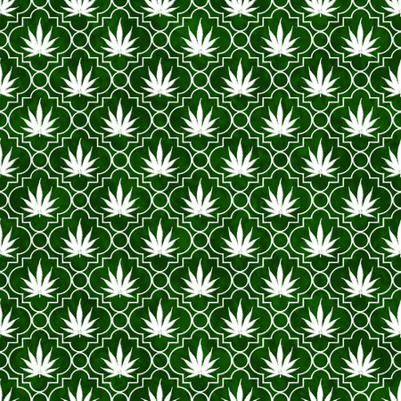 Green and White Marijuana Leaf Pattern Repeat Background that is seamless and repeats photo