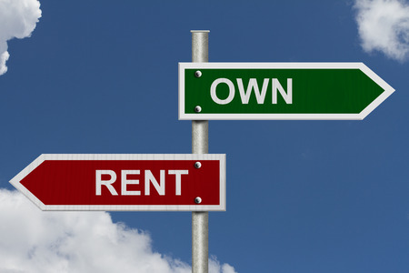 dilemma: Red and green street signs with blue sky with words Own and Rent, Own versus Rent Stock Photo