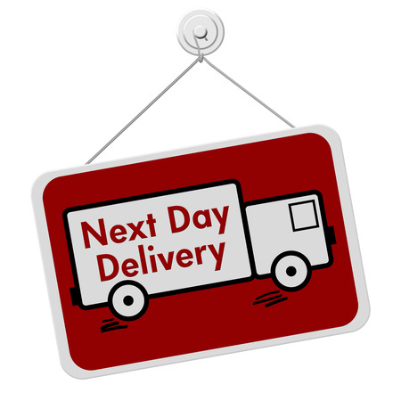 overnight: A red and white sign with the words Next Day Delivery in a truck isolated on a white , Next Day Delivery Sign Stock Photo