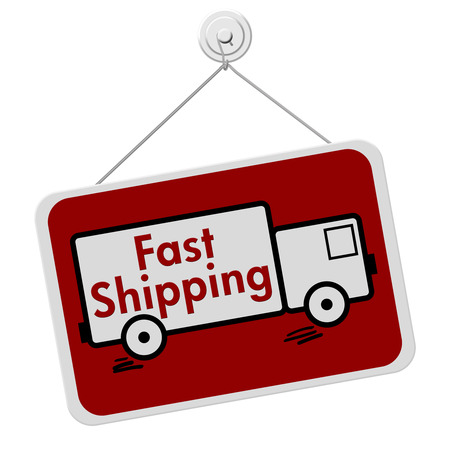 overwhite: A red and white sign with the words Fast Shipping in a truck isolated on a white background, Fast Shipping Sign Stock Photo