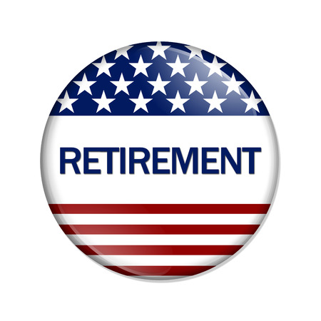 roth: A white button red stripes and stars with word Retirement isolated on a white background Stock Photo