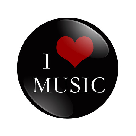 I Love Music button, A black and red  button with words I love Music isolated on a white background