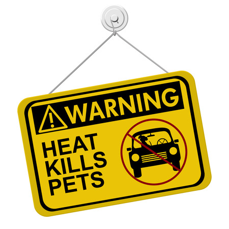 A yellow and black warning sign with the words HEAT KILLS PETS isolated on a white background