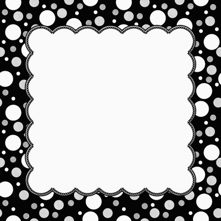 White, Gray and Black Polka Dots Frame with Embroidery Background with center for copy-space, Classic Polka Dot Frame photo