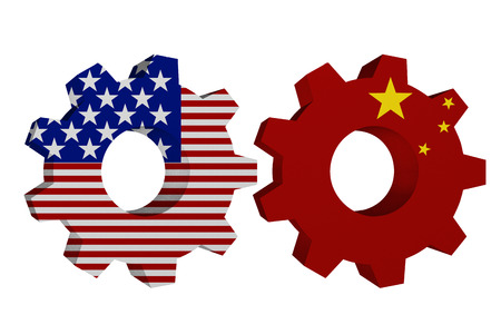 US working with China, Two cogwheel gear mechanism pieces with the US flag and Chinese flag isolated over white Stock Photo