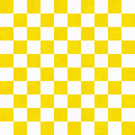 Bright Yellow and White Checkers Textured Fabric Background that is seamless and repeats
