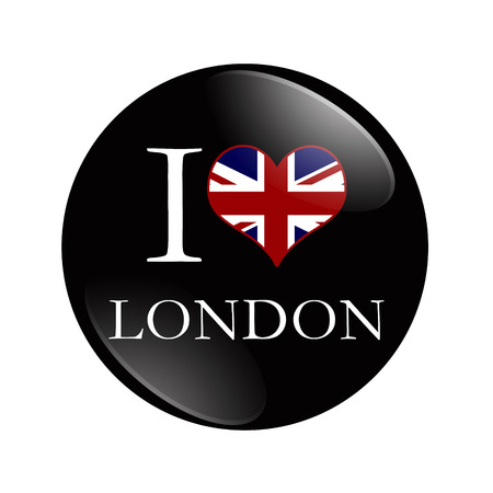 I Love London button,  A black button with words I Love London and a heart with the flag isolated on a white  photo
