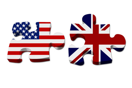US working with England, Puzzle pieces with the US flag and British flag isolated over white photo