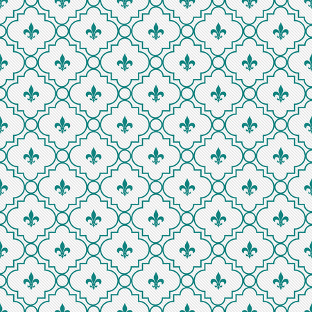 White and Dark Teal Fleur-De-Lis Pattern Textured Fabric Background that is seamless and repeats photo