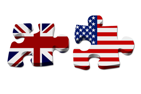 England working with US, Puzzle pieces with the British flag and US flag isolated over white photo
