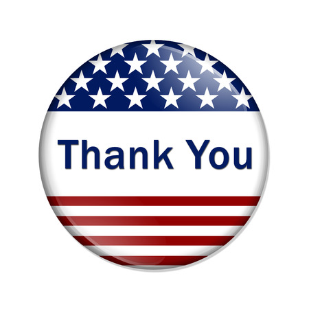 blue you: Thank You Button , A white button red stripes and stars with words Thank You isolated on a white background