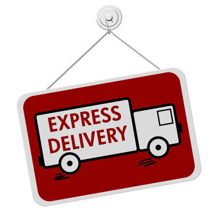 A red and white sign with the words Express Delivery in a truck isolated on a white background, Express Delivery Sign photo