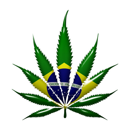 law of brazil: Marijuana Leaf with the colors of Brazilian flag isolated on white Stock Photo
