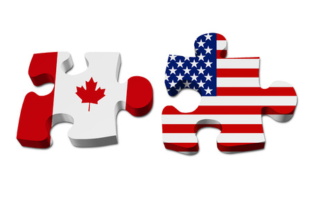 canada country: Canada working with USA, Puzzle pieces with the Canadian flag and USA flag isolated over white Stock Photo