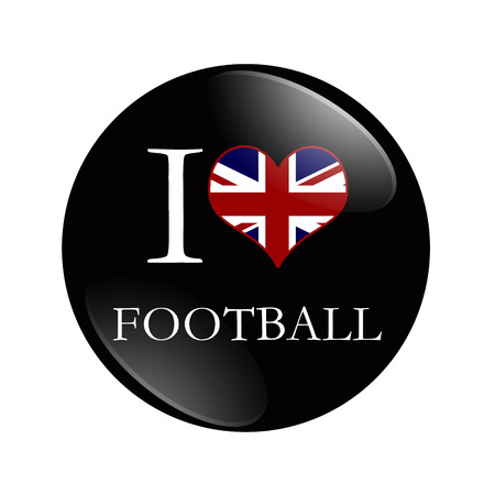 I Love British Football button,  A black button with words I Love Football and a heart with the flag isolated on a white background photo