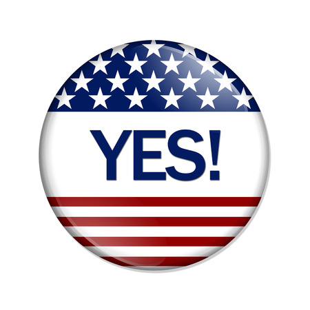Just say Yes Button , A white button red stripes and stars with word Yes isolated on a white background photo