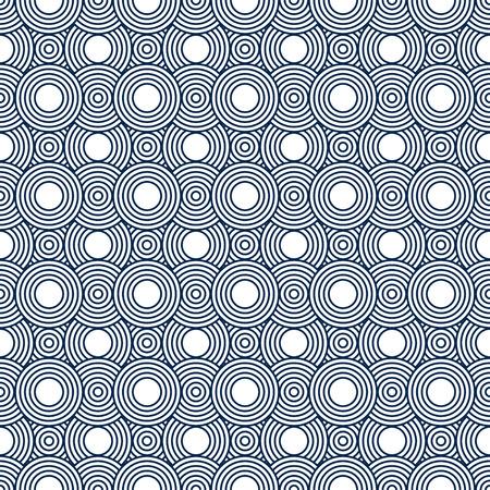 azul marino: Azul marino y blanco circunda Azulejos modelo de la repetición de fondo que es perfecta y repeticiones Foto de archivo